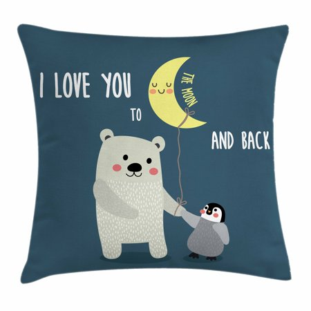 I Love You Throw Pillow Cushion Cover, Teddy Bear and Penguin Best Friends Arctic Lovers under Moon Cartoon, Decorative Square Accent Pillow Case, 16 X 16 Inches, Slate Blue Grey Yellow, by