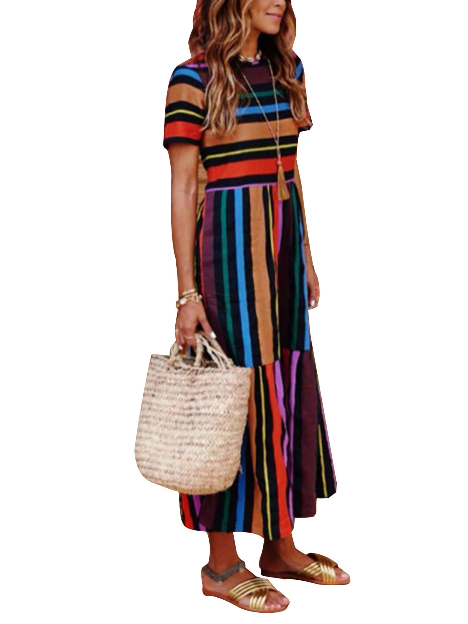 moderate cost biggest discount low priced Boho Beach Dress for Women Colorful Stripes Long Maxi Sundress Summer  Casual Evening Party Cocktail Holiday Dress