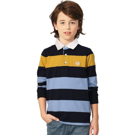 Leo&Lily Boys' Long Sleeves Striped Cardigan Rugby Polo Shirt