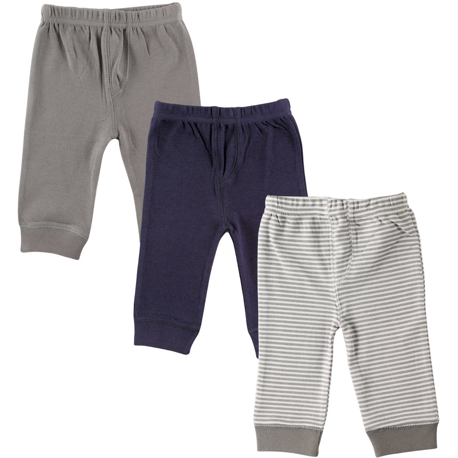Luvable Friends Newborn Baby Boys 3-Pack Tapered Ankle Pants, Grey