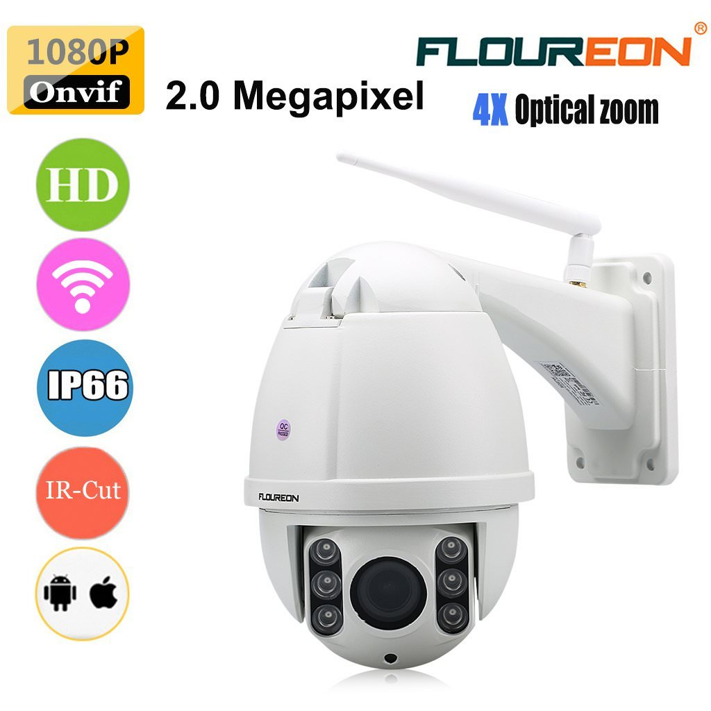 Floureon Wireless WiFi/Wired PTZ Outdoor Surveillance Internet IP Camera 960P 4X Optical Zoom Motion Sensor Activated with SD Card Waterproof Night Vision Up to 98ft, Work for IOS, Android or PC