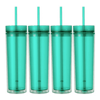 Set of 4 Mint Tall Skinny Tumblers, Acrylic 16 Ounce Tumblers with Straw