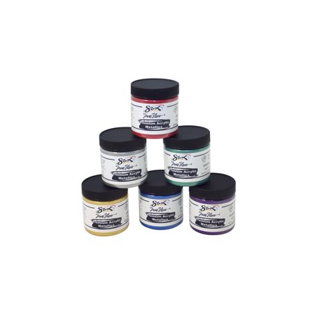 Sax Premium Heavy-Bodied Acrylic Metallics, 8 Ounce Jars, Set of