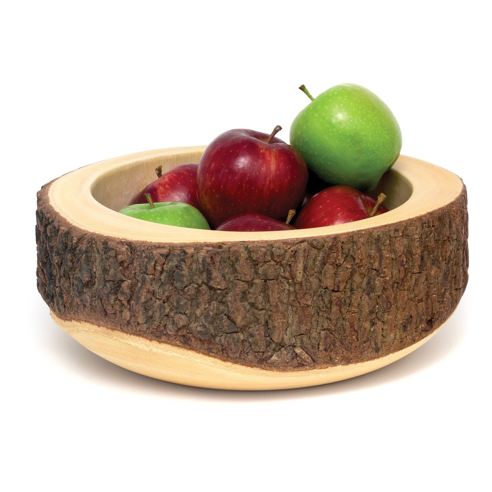 Lipper Acacia Round Serving Bowl with Tree Bark