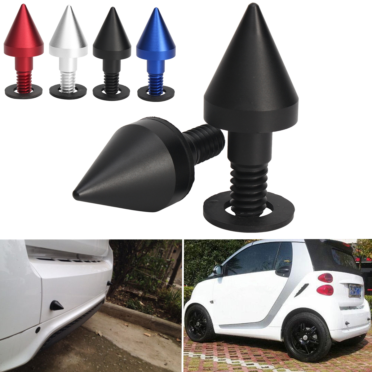 2 Pcs Black Front or Rear Bumper Protector Spikes Guards Protectors For Smart