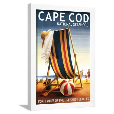 Cape Cod National Seashore - Beach Chair and Ball Framed Print Wall Art By Lantern - Black And White Beach Balls