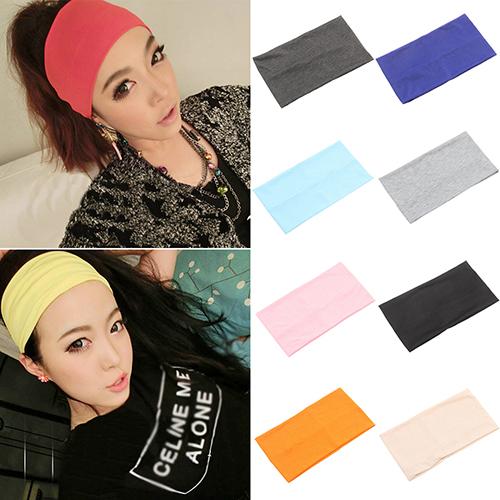 Moderna Women Candy Color Wide Yoga Headband Stretch Hairband Elastic Hair Bands Turban