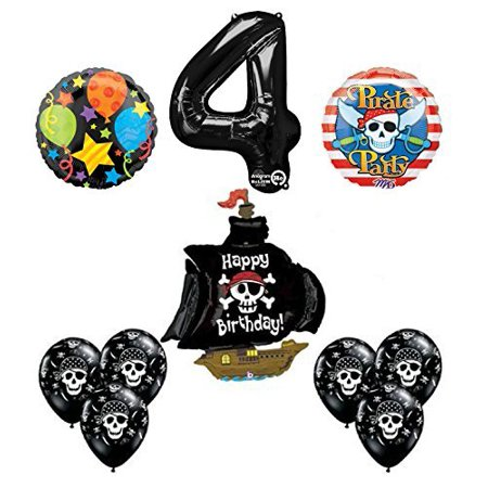 Black Pirate Ship 4th Birthday Party Supplies and Balloon Decorations
