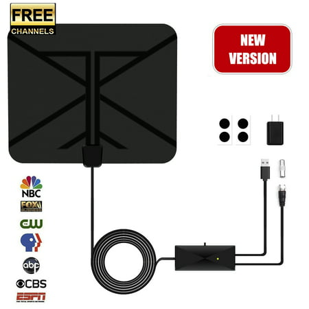 [2019 Latest]TV Antenna, HDTV Indoor Digital Amplified Antenna 60 Miles  Range with Switch Amplifier Signal Booster for Free Local Channels 4K HD  1080P