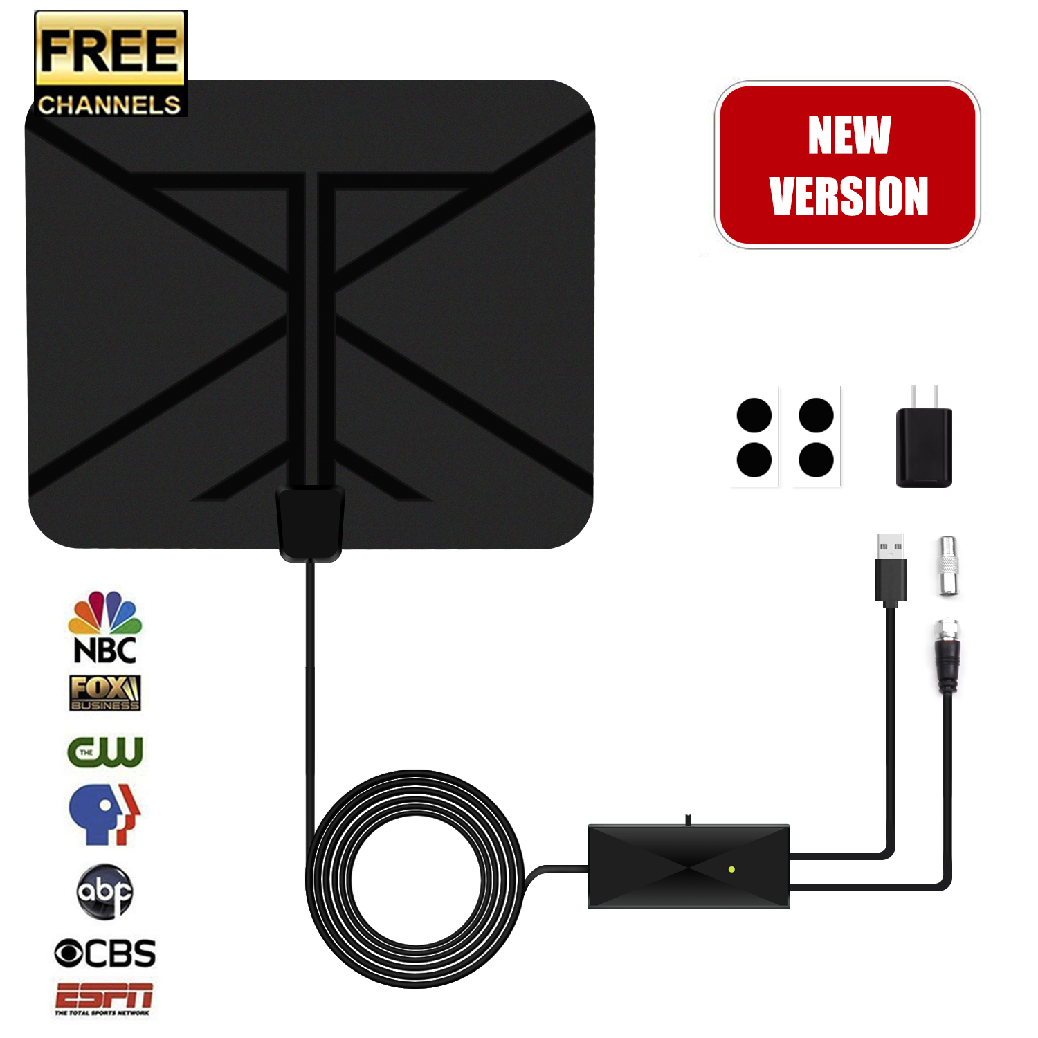 [2019 Latest]TV Antenna, HDTV Indoor Digital Amplified Antenna 60 Miles Range with Switch Amplifier Signal Booster for Free Local Channels 4K HD 1080P VHF UHF All TV's - 16.5ft Coaxial Cable