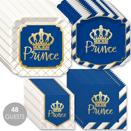 Royal Prince Charming with Gold Foil - Baby Shower or Birthday Party Tableware Plates and Napkins - Bundle for 48 - Elephant Baby Shower Plates And Napkins