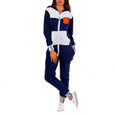 SkylineWears Womens Fleece Onesie One Piece Pajama Jumpsuit Orange Pocket Small