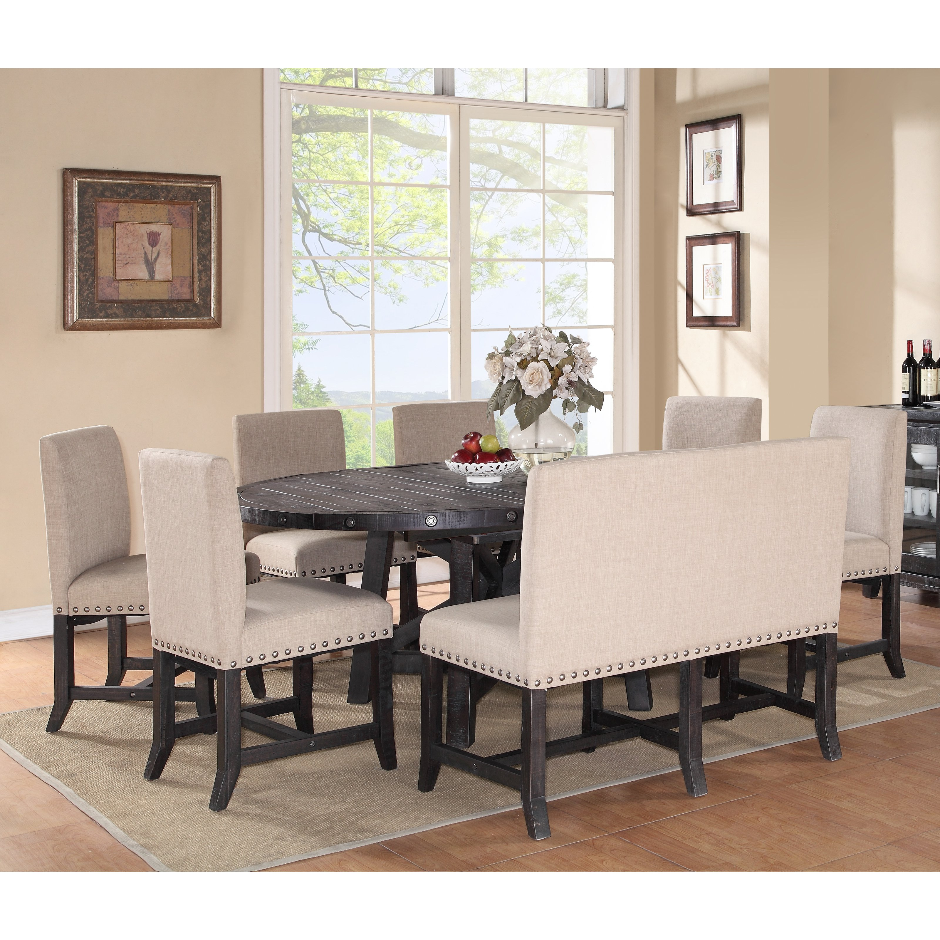 upholstered dining room set glamour modus yosemite piece oval dining table set with upholstered chairs and settee