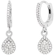 Lesa Michele Genuine Cubic Zirconia Teardrop Hinge Earrings in Sterling Silver