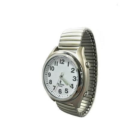 atomic talking watch for the blind with extra spare battery and microfiber cleaning cloth (stainless steel stretch eastern standard time)
