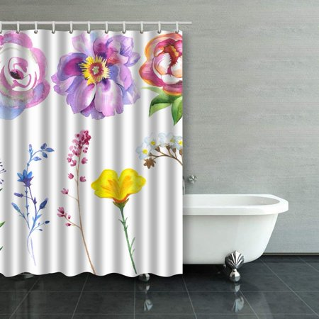 BOSDECO Wildflowers Daisy Calla Flower Set In A Watercolor Style Wild Flowers Shower Curtain Bathroom Curtain 48x72 inches - image 1 de 1