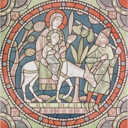 Century Stained Glass - The Flight Into Egypt 12th Century Artist Unknown Stained Glass Chartres Cathedral France Poster Print