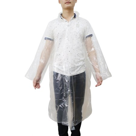 Clear One Size Adult Disposable Waterproof Hooded Raincoat Rain Poncho](Clear Ponchos)