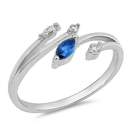 Marquise Blue Simulated Sapphire Open Bar Ring ( Sizes 4 5 6 7 8 9 10 ) New .925 Sterling Silver Band Rings by Sac Silver (Size