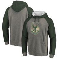 Milwaukee Bucks Fanatics Branded Distressed Logo Tri-Blend Pullover Hoodie - Ash/Green