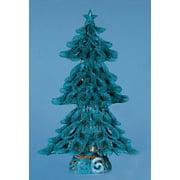 "20"" Lighted Looped Azure Blue Glitter Christmas Tree Decoration"