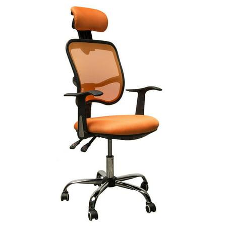 HomCom Adjustable Mesh High Back Office Chair W Headrest Orange