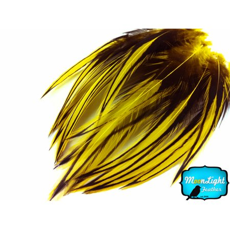 10 Pieces - Sunshine Yellow Laced Long Rooster Cape Feathers