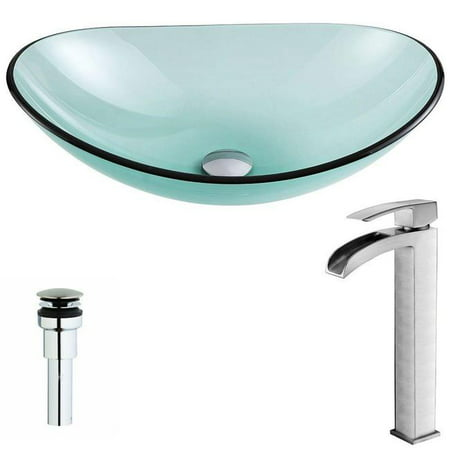 Anzzi LSAZ076-097B Major Series Deco-Glass Vessel Sink in Lustrous Green with Key Faucet in Brushed Nickel - image 1 de 1