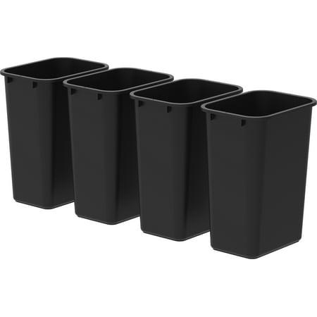 Storex 4pk Large/Tall Wastebaskets - Black