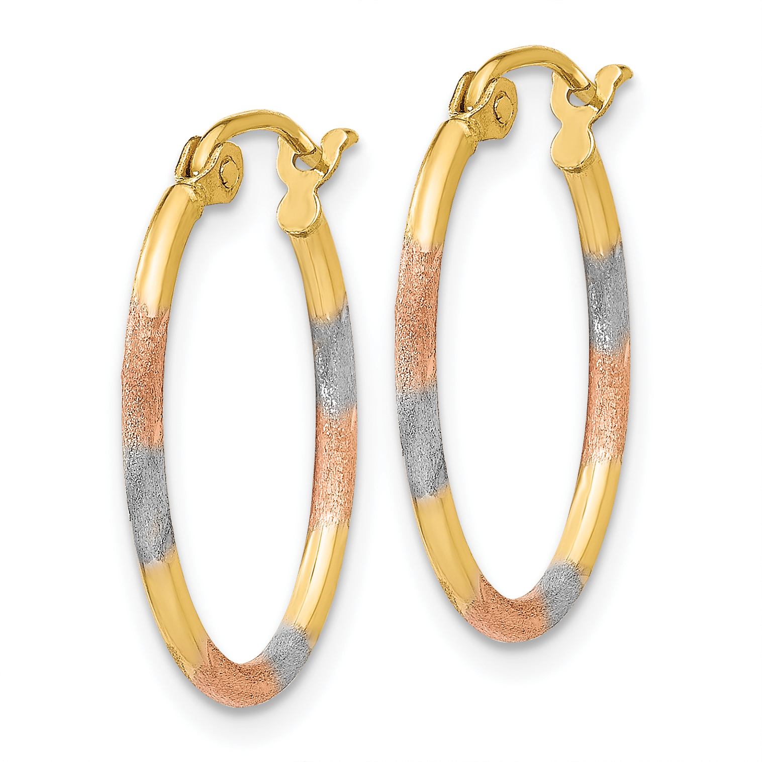 14K and White and Rose Rhodium Diamond-Cut Hoop Earrings