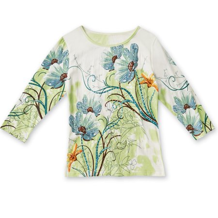 Collections EtcWomen's Floral Sequin Spring Garden Top, X-Large, Hand Wash Only, Cotton