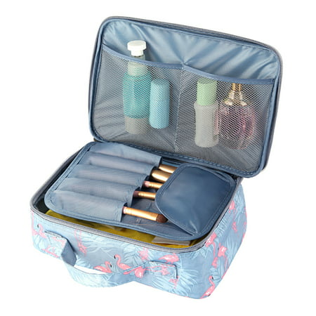 598a95adc72c Flamingo Beautician Cosmetic Case Double Zipper Women Travel Organizer  Waterproof Portable Large Capacity Storage Bag Makeup Bags Toiletry Kits A1