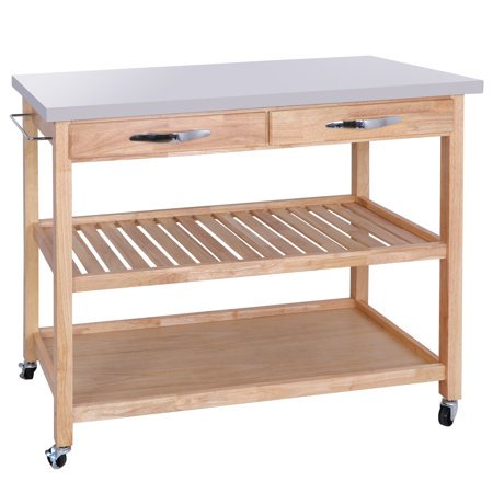 Zeny Rolling Kitchen Island Utility Kitchen Serving Cart w/Stainless Steel Countertop, Spacious Drawers and Lockable Wheels