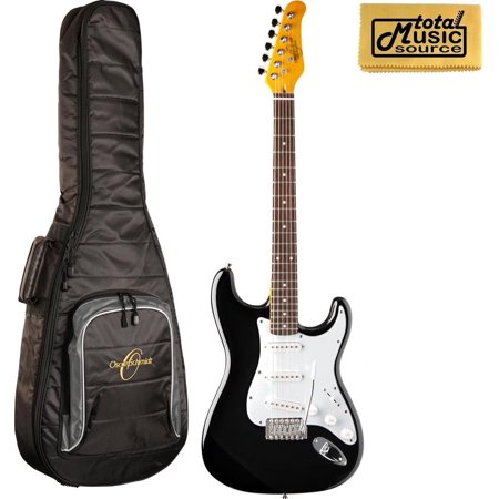 Oscar Schmidt  Double Cutaway Electric Guitar, Black, OS-300 BK W/Gigbag, OS-300 BK BAG