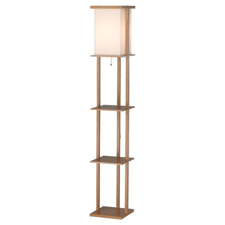 adesso barbery shelf floor lamp oak. Black Bedroom Furniture Sets. Home Design Ideas