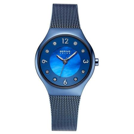 - 14427-393 Women's Solar MOP Dial Blue Mesh Bracelet Watch