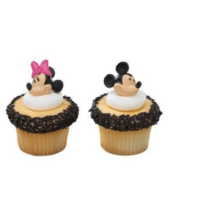 12 Mickey And Minnie Mouse Cupcake Cake Rings Birthday Party Favors Cake Toppers - Mickey Mouse For Birthday Party