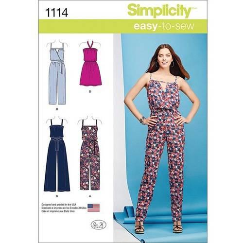 Simplicity Misses' Easy Dress and Jumpsuits, XXS-XS-S-M-L-XL-XXL