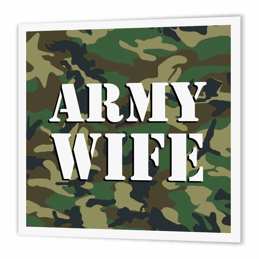3dRose Army Wife Green Camouflage , Iron On Heat Transfer, 8 by 8-inch, For  White Material