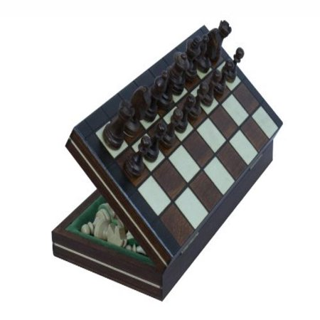 Travel Magnetic Chess Set W  Wooden 9 25  Board And Chessmen
