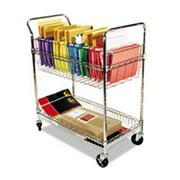 Alera MC3518SR Carry-all Cart, Mail Cart, Two-Shelf - Chrome