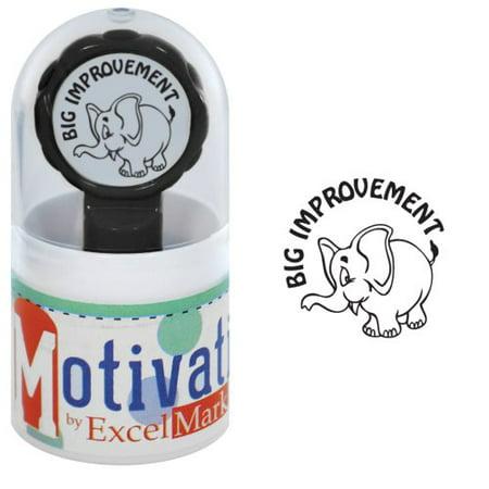 - Motivations Pre-inked Teacher Stamp - Big improvement (Elephant) - Black Ink