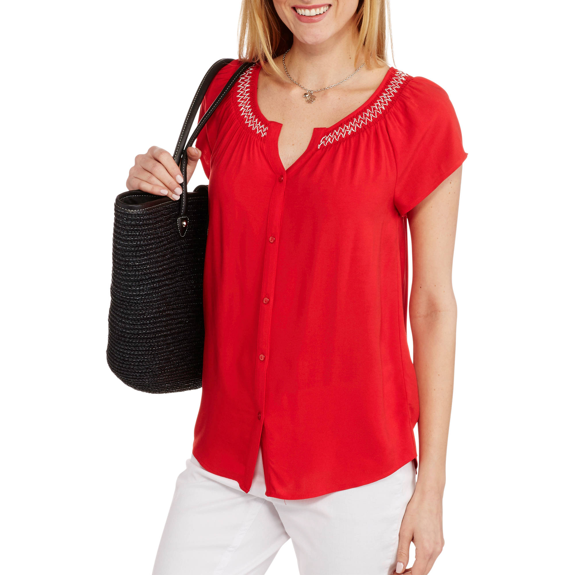 Faded Glory Women's Woven Button-Front Peasant Top