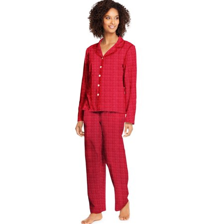 Hanes Womens Knit Notched Collar Top and Pants Sleep Set, S, Merry Geo - image 1 de 1