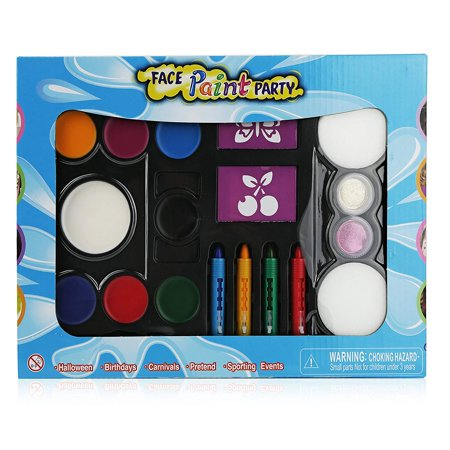 Pinkleaf Face Painting Kit for Kids with Washable Paint, Glitter, Push-Up Crayon Markers, Sponges, Mini Brushes & Reusable - Face Paintings