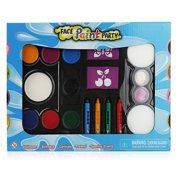 Pinkleaf Face Painting Kit for Kids with Washable Paint, Glitter, Push-Up Crayon Markers, Sponges, Mini Brushes & Reusable Stencils