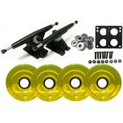 Randal 180 Black LONGBOARD TRUCKS Package 76mm T.YELLOW Wheels