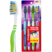 Colgate ZigZag Deep Clean Manual Toothbrush with Tongue and Cheek Cleaner, Soft, 4 Ct