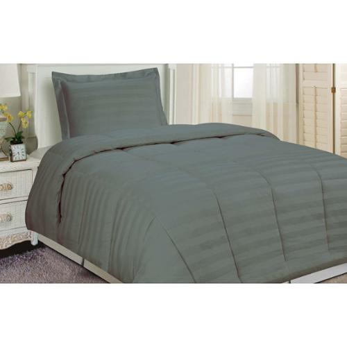 Damask Stripe Comforter Set Grey Twin