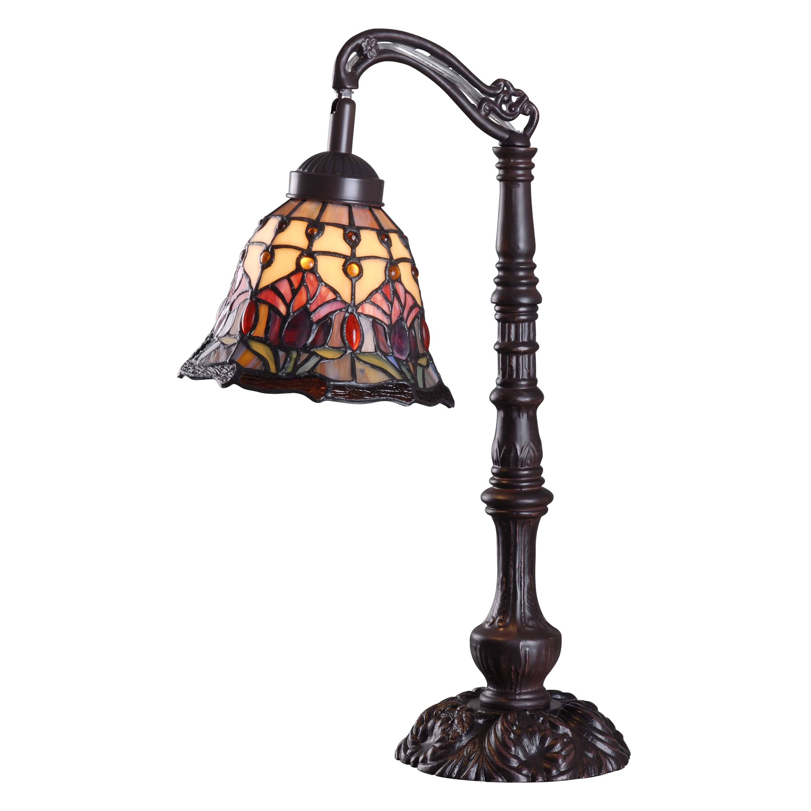 Kenroy Home Floret Table Lamp, Multicolored Stained Glass...